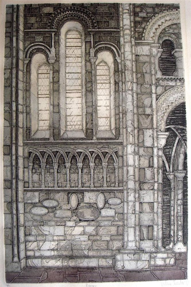 Valerie Thornton limited edition aquatint etching Romsey Abbey signed dated Sold