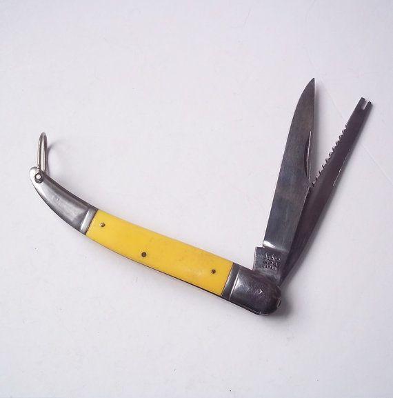 Vintage Sabre 624 Pocket Knife Made In Japan Yellow