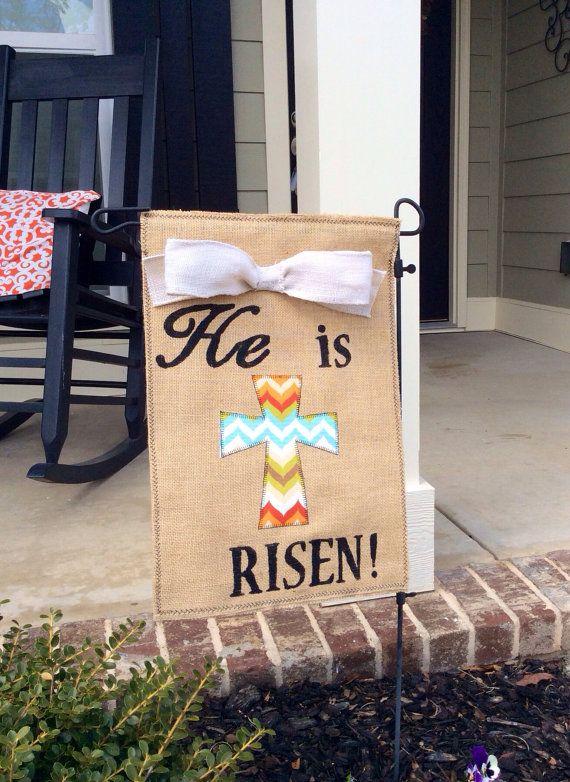 Easter Burlap Garden Flag/Banner
