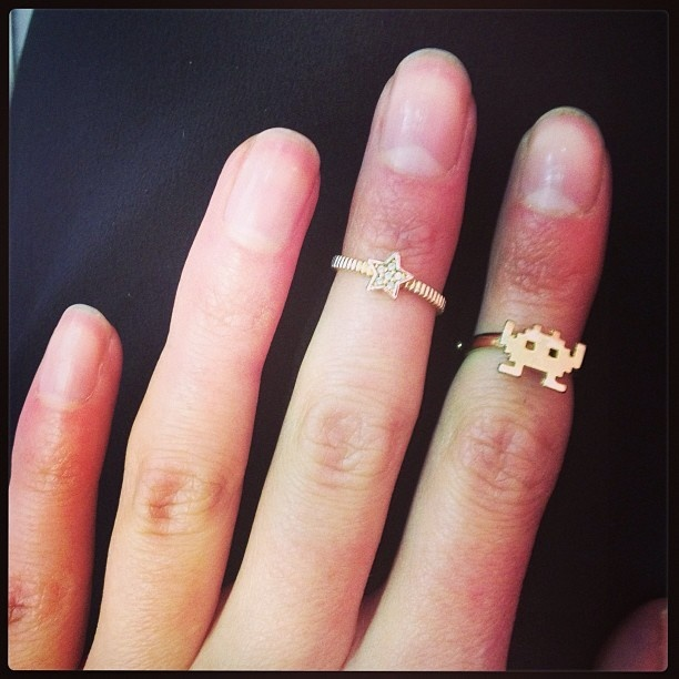Gold Space Invader Ring