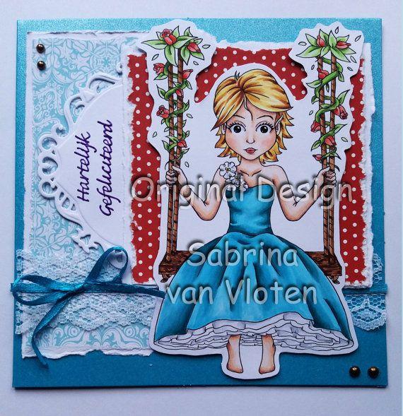 Eliza's Flower Swing - Digi Stamp JPEG