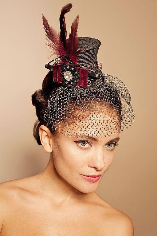"""Купить Шляпка """"Бурлеск"""" - украшение на голову, шляпка, мини-цилиндр, вечерний наряд, скачки, бордовый"""
