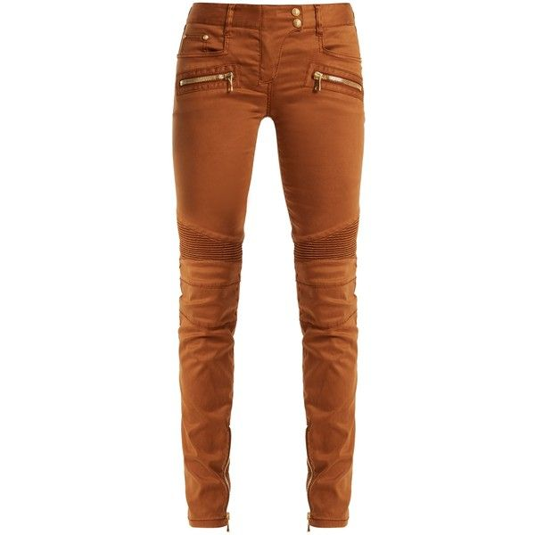 Balmain Low-rise skinny biker jeans ($1,008) ❤ liked on Polyvore featuring jeans, brown, brown skinny jeans, low rise jeans, balmain, super skinny jeans and zipper skinny jeans