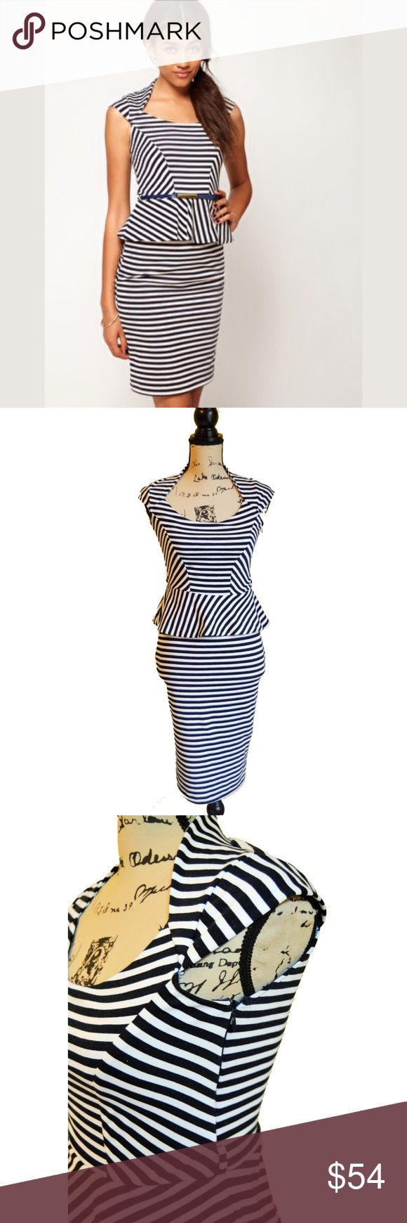 {River Island} ASOS Cap Sleeve Peplum Dress Gently used in great condition River Island Black and White Striped Sleeveless Peplum Dress. Has holes to wear with a belt. Does not include a belt.   Size 8   Materials: Body-94% Polyester, 6% Elastane Linning: 100% Polyester River Island Dresses