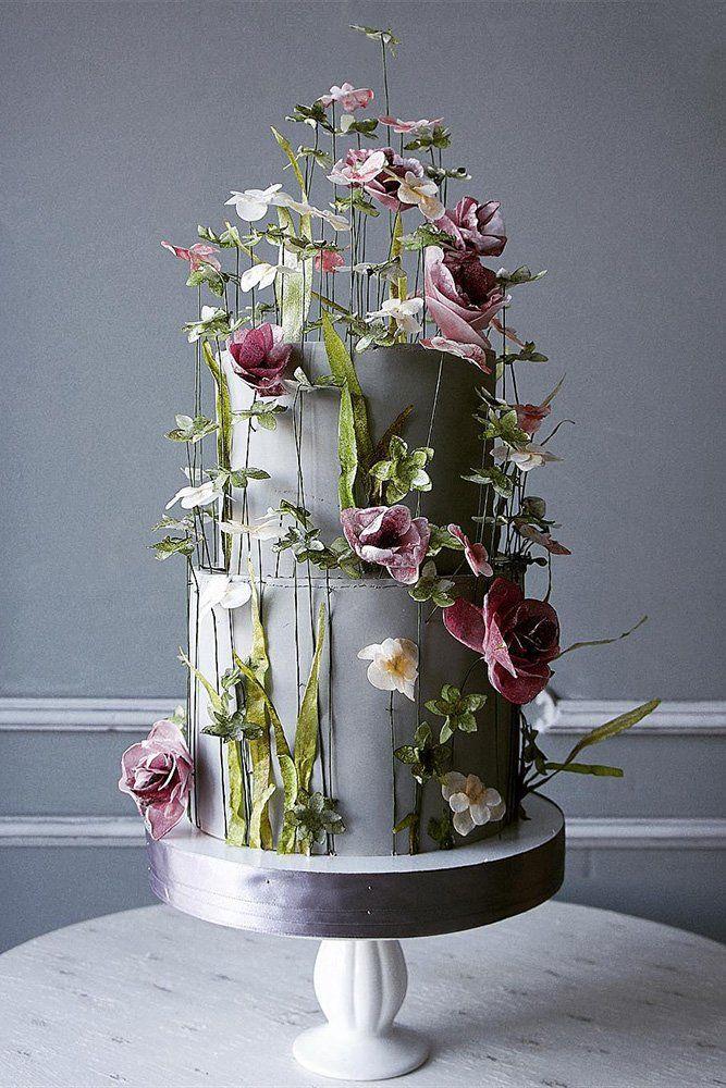 Hochzeitstorte Ideen Fotogalerie rosa und weiße Blumen Blüten auf grauem Kuchen ele …   – Wedding cake
