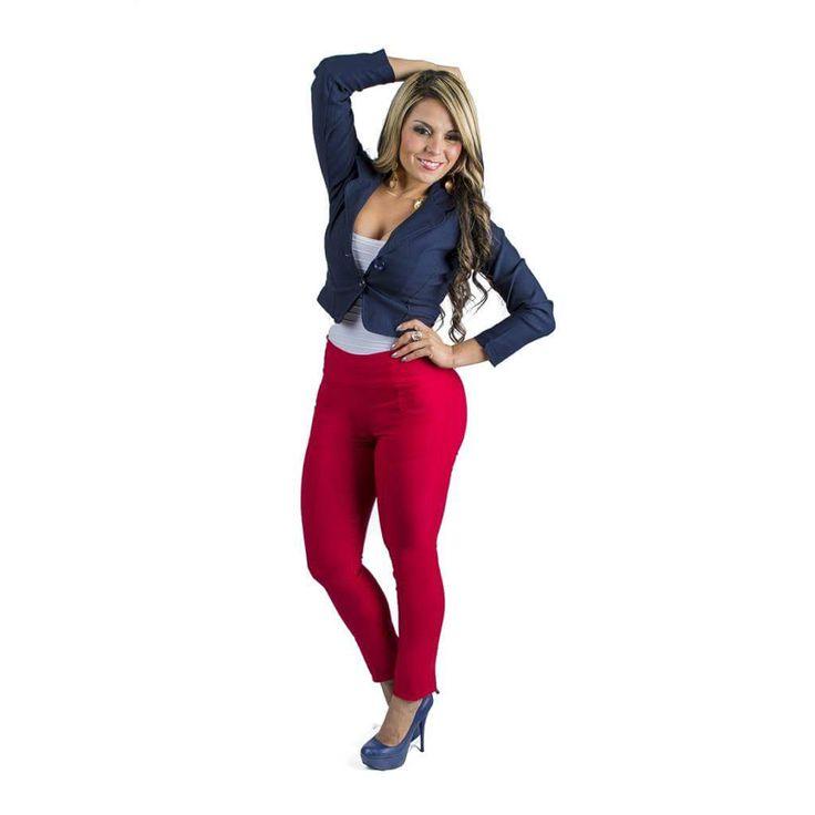 Leggins rojo red leggins Legins legis leggis Mujer latina ...