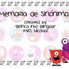 Synonyms game in Spanish AND Alphabetic order activity.   Juego de sinonimos en espanol y palabras en orden alfabetico.