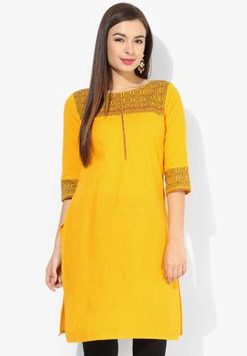 Yellow Printed Kurti Make guys adore your sartorial elegance when wearing this kurtafrom Aurelia. Look classy and stylish in this piece and revel in the comfort of its soft 100% cotton fabric. A dupatta and salwar will further accentuate your ethnic look. http://jbo.ng/wNUs2d6