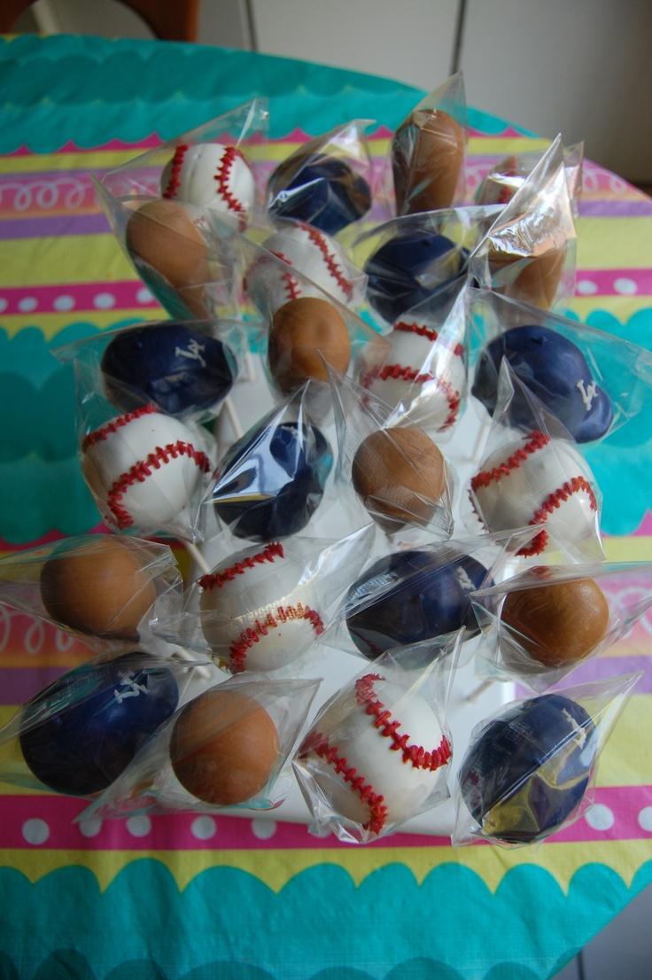 Dodgers Cake Pops - Baseball Hats, Baseball Bats and Baseballs