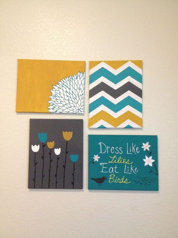 Cute DIY dorm art! Get some canvases and acrylic paint, and get creative :) blue and yellow are my school colors so they go with the theme of my room! Also great for decorating rooms in your house! #chevron #canvas #art #diy #acrylic #paint #dormroom #college #roomdecor #creativity #tulips #matthew6 #lillies #birds #worry