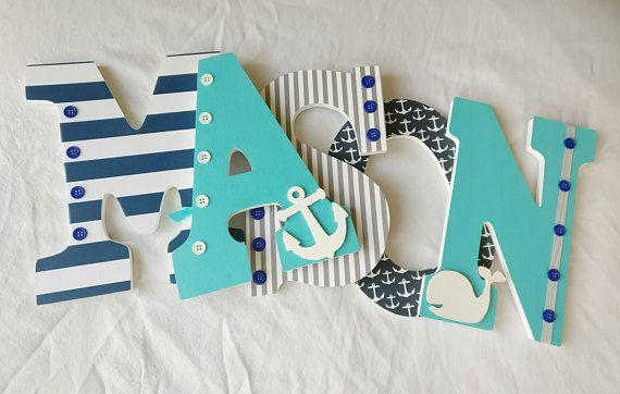 Boy nursery letters nautical letters navy and aqua nautical