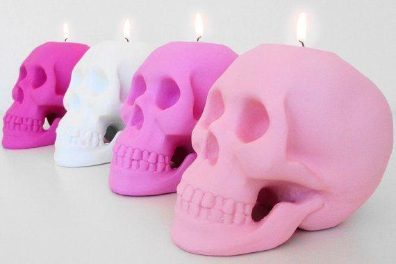 Skull, Candle Holders, Set 4, Skulls, Skull Candle, Votive Holder, Hodi Home Decor, Pink Skull, Skull Decoration, Human Skull Sculpture on Etsy, $92.00