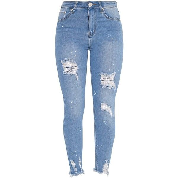 Light Wash Bleach Splatter Distress High Waisted Skinny Jean (165 SAR) ❤ liked on Polyvore featuring jeans, skinny jeans, blue skinny jeans, blue jeans, distressed jeans and ripped jeans