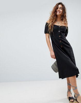 ASOS Button Through Off Shoulder Midi Dress