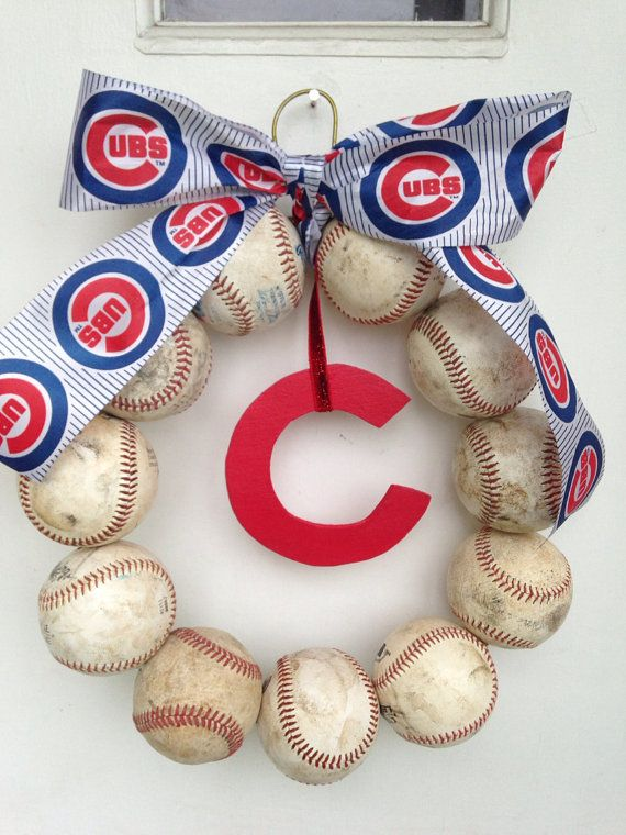 Chicago Cubs Baseball Wreath by NTgoodthings on Etsy