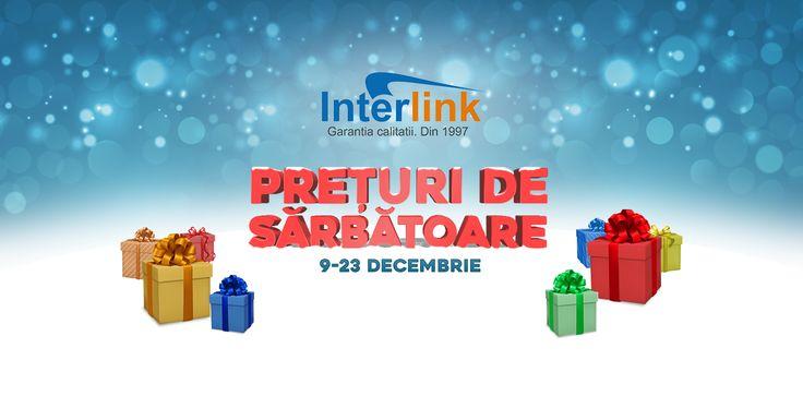 Cu ocazia sarbatorilor de iarna venim in atentia dumneavoastra cu super reduceri in perioada 9-23 Decembrie. Va asteptam pe site-ul nostru www.interlink.ro cu reduceri la toate produsele afisate. Totodata, echipa InterLink va ureaza SARBATORI FERICITE si SPOR LA CUMPARATURI!