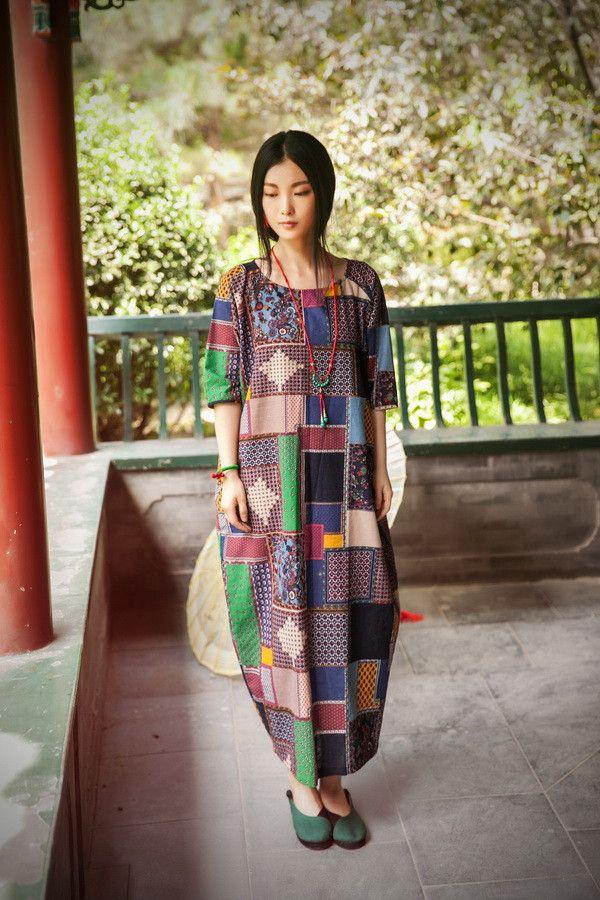 Women cotton linen summer dress 3/4 sleeve- Buykud -