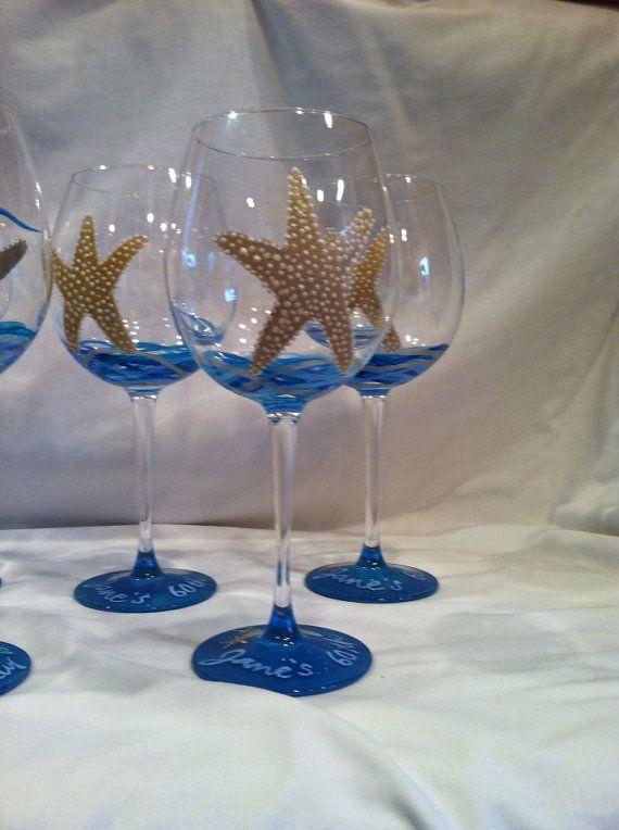 Starfish painted wine glass by neatstuf on Etsy, $20.00