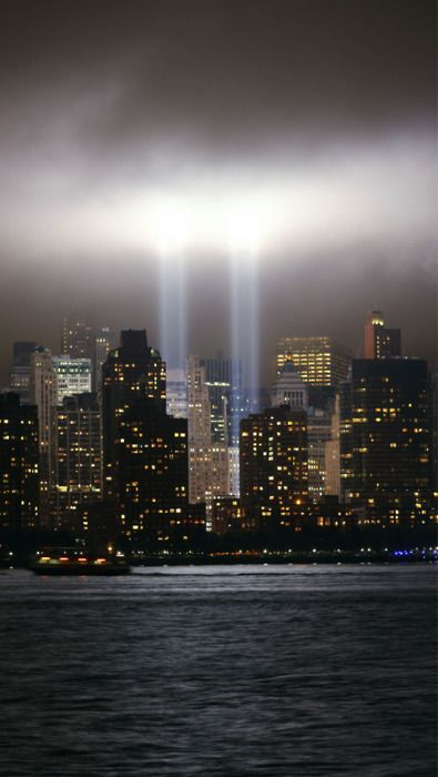 The Tribute in Light is an art installation of 88 searchlights placed next to the site of the World Trade Center in New York City. The instillation creates two vertical columns of light in remembrance of the World Trade Center towers and the September 11th 2001 terrorist attacks. They beam up into the night sky every year on September the 11th.