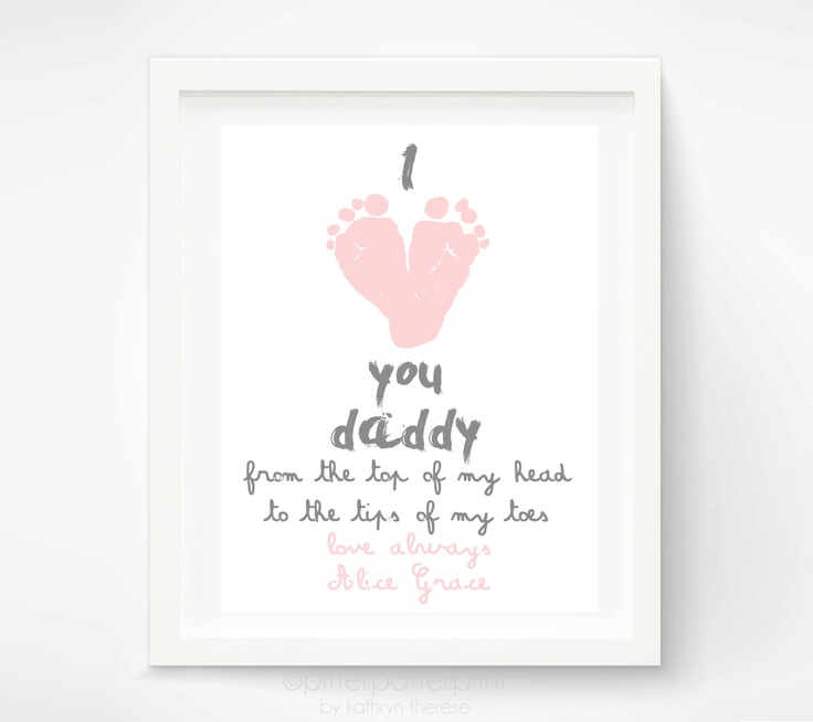 Personalized Father's Day Gift for New Dad - I Love You Daddy Baby Footprint Art Print - Gift for Father, Daddy, Papa. $30.00, via Etsy.