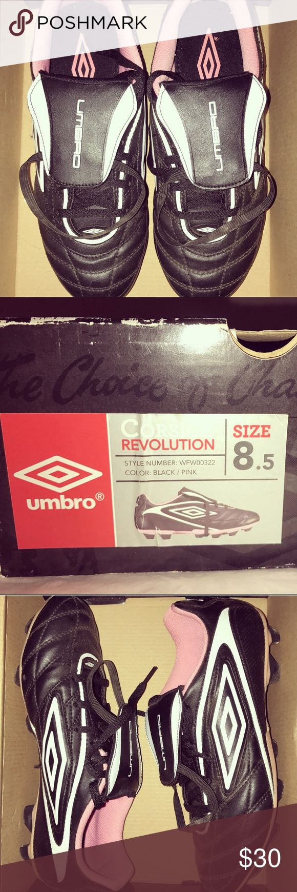 UMBRO Girl's Corsica Revolution Soccer Cleats These black/pink soccer cleats were lightly worn, in great condition and includes original box. They are very comfortable and good for other sports as well. Feel free to ask more questions and make an offer. Umbro Shoes Sneakers