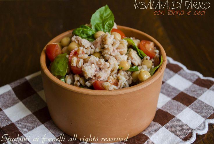 L'insalata di farro con tonno e ceci è un piatto freddo estivo perfetto non solo da portare in spiaggia, al mare o in piscina ma anche in ufficio
