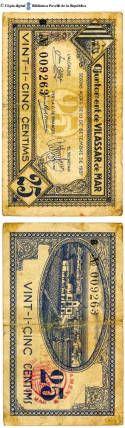 Vilassar de Mar - 25 cts.  : Ajuntament de Vilassar de Mar, segons acord de 10 de setembre de 1937, vint-i-cinc cèntims :: Paper moneda del Pavelló de la República (Universitat de Barcelona)