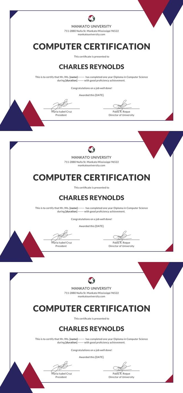 Free Computer Diploma Certificate Diploma Pinterest