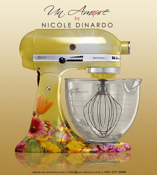 Un-Amore.com custom painted KitchenAid mixer. Floral Concept by Nicole Dinardo