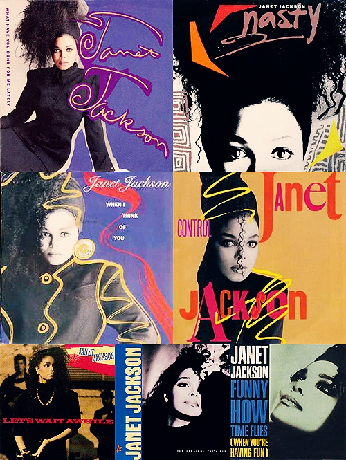 janet jackson, 1980s, graphic design, typography, album art