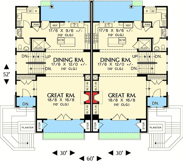 Plan 69111am hillside multi family home plan car garage for Multi family house plans apartment