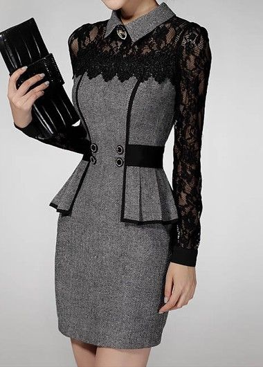 Grey Flat Collar Peplum Waist Lace Panel Dress