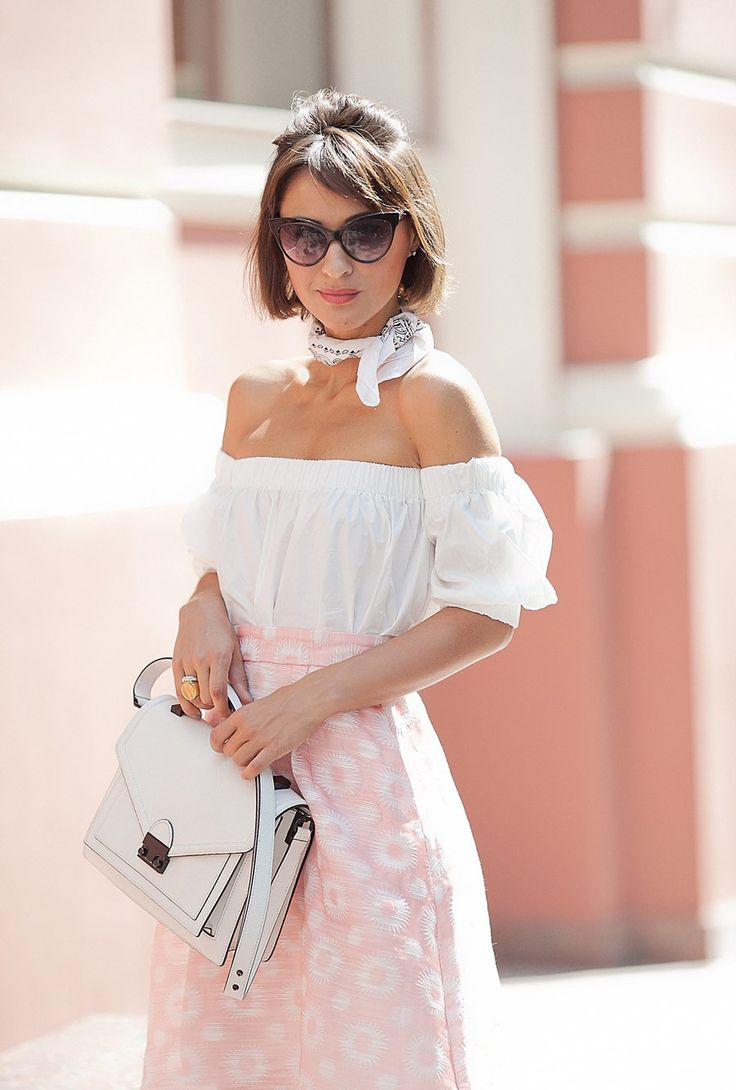 hot summer days outfit, loeffler randall rider satchel bag, pink skirt outfit, off the shoulder top in white, retro inspired outfits for summer,