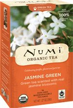 Numi Organic Tea Jasmine Green | Fragrant organic jasmine flowers are laid atop organic green tea leaves as their scent is naturally embraced. Scented three times, this smooth green tea has layers of subtle fragrance and hints of moonlight.
