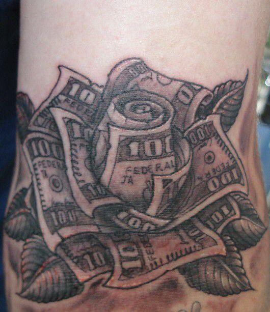 Money tattoo flower