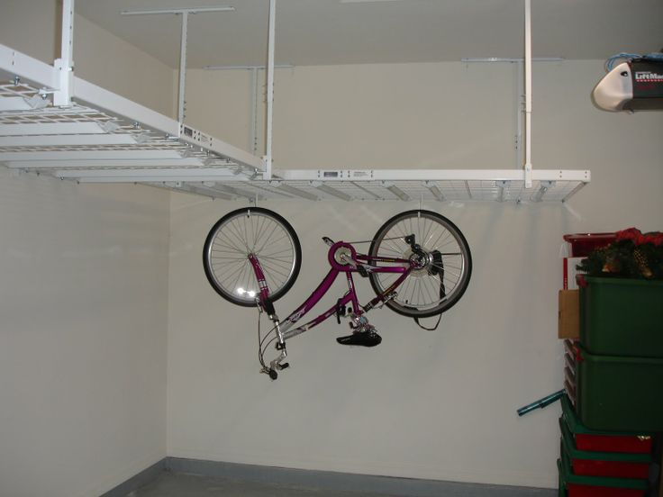 Strong racks l-shaped storage idea with bike hangers.