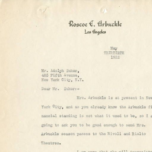Letter from Roscoe Arbuckle to Adolph Zukor, 1922 :: Adolph Zukor Correspondence