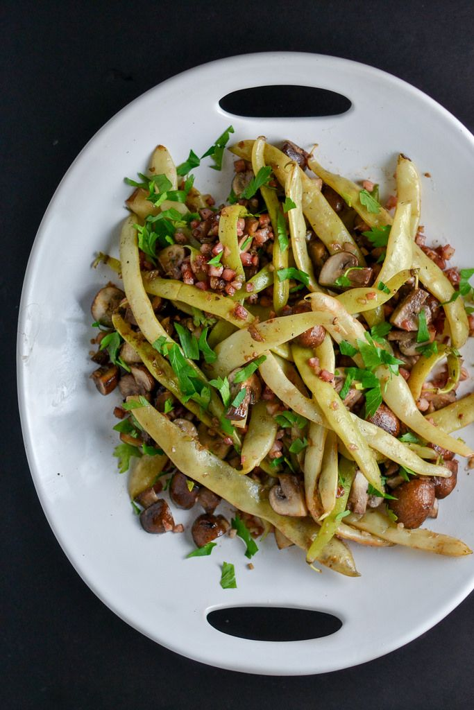 Dragon Tongue Beans with Pancetta and Mushrooms | Things I Made Today