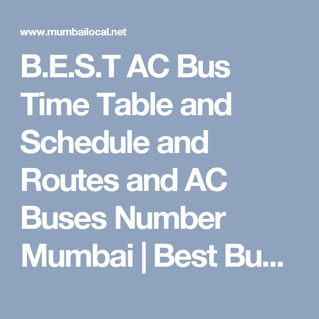 B.E.S.T AC Bus Time Table and Schedule and Routes and AC Buses Number Mumbai | Best Bus Time Table Mumbai | Mumbailocal.Net