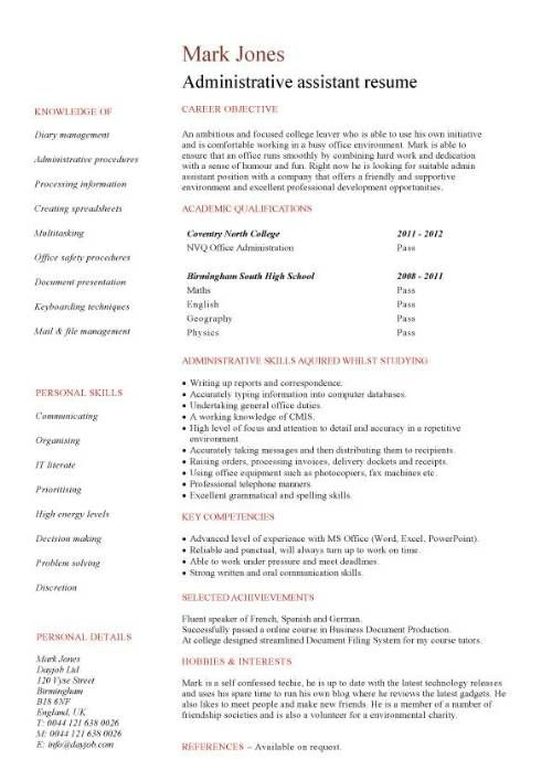 Targeted at a Administrative assistant job