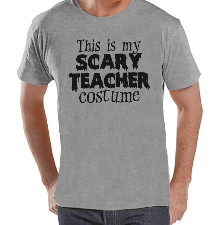 Men's Scary Teacher Costume - School Halloween Party - Adult Halloween Costumes - Funny Mens Shirt - Mens Costume Tshirt - Mens Grey T-shirt