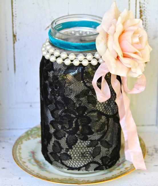 Great easy centerpiece idea! You could just change out the color of the flower!! Vintage Shabby Chic Ball Quart Mason Jar With Black Lace Vintage Pink Rose Pearls Ribbon Vase Candle Holder - changing the colors to yours
