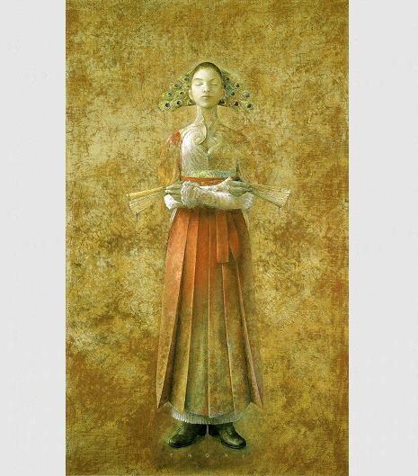 Margarita 「孔雀舞Ⅱ」・100M(2003年) Joseph - Maurice Ravel(ラヴェル) 作曲 「亡き王女のためのパヴァーヌ」 原題:Pavane pour une infante defunte この曲の原初版は1899年に作曲されたピアノ曲だ。 それは、いかにも古風なスペイン・ハプスブルク王朝時代の舞曲を思わせる曲調である。 装いも新たに編曲された1910年版の管弦楽曲では、どことなく雅楽を聴いているようだ。 スペイン風の衣装の上から、日本風の装束を纏ったかのような、典雅な音色で覆われている