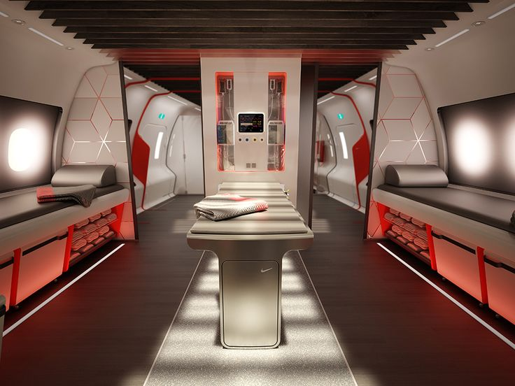 Nike Helps Design a Swank Jet for Traveling Sports Teams | Designing for an extreme use cases allowed Teague and Nike to look at the plane interior with fresh eyes, and they imagined dedicated zones for sleeping, socializing, and training/recovery.   Teague  | WIRED.com