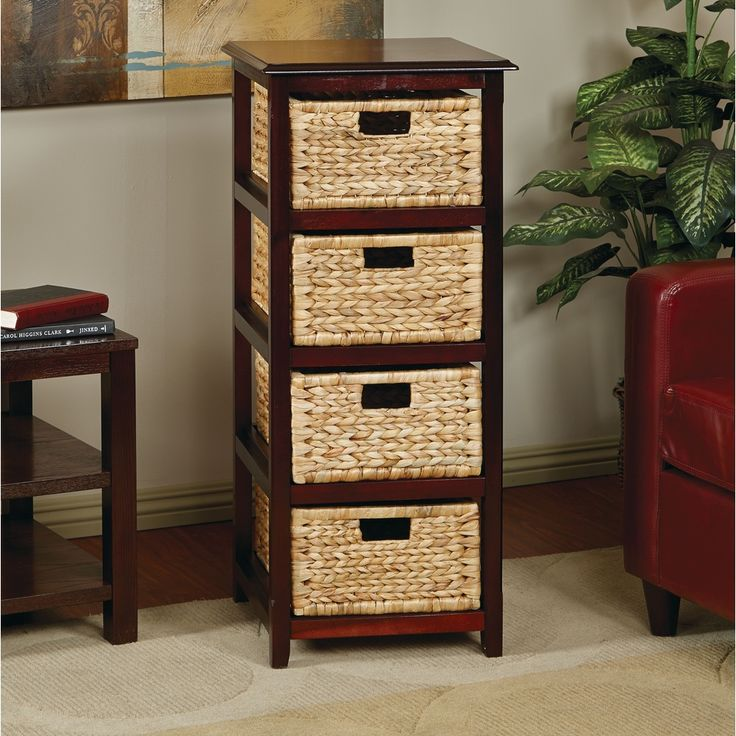 Seabrook Basket Storage Espresso Tower With Four Braided