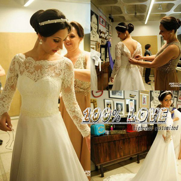 Find More Wedding Dresses Information about Free Shipping Long Sleeve Lace Appliqued Pearls Beaded Vestido De Noiva Manga Longa Wedding Dresses,High Quality beaded white dress,China beaded dress fabric Suppliers, Cheap dress bead patterns from 100% Love Wedding Dress & Evening Dress Factory on Aliexpress.com