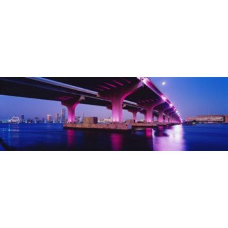 MacArthur Causeway Biscayne Bay Miami FL USA Canvas Art - Panoramic Images (36 x 12)