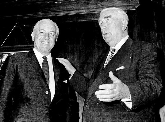 Sir Robert Menzies (right) with Harold Holt in 1966, after Menzies handed over power.