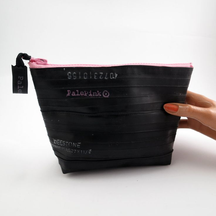Recycled bicycle inner tube cosmetic pouch for men and woman, container, bag, with pale pink zipper. by palepink on Etsy