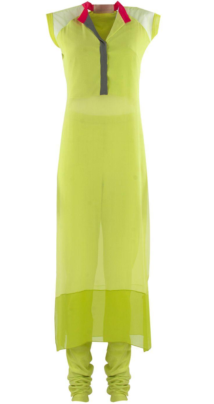 Lime green georgette kurta set by MANISH MALHOTRA.